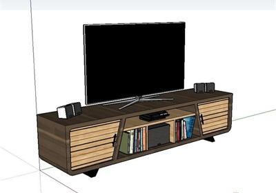 某现代风格详细木质电视柜电视机设计su模型