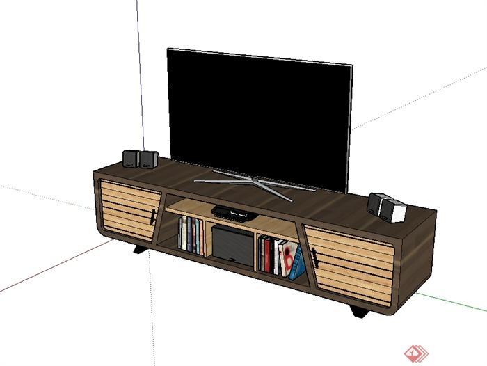 某現代風格詳細木質電視柜電視機設計su模型(2)