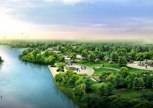 精品河岸绿地景观鸟瞰效果图psd格式源文件