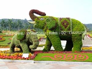 绿雕立体花坛五色草