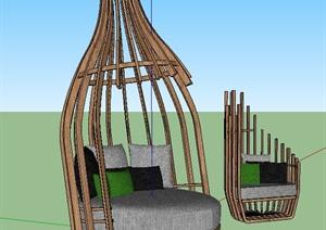 现代木质景观沙发SU(草图大师)模型