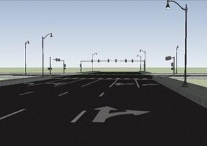 十字路口道路设计SU(草图大师)模型