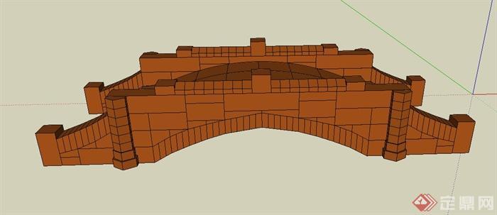 景观木质小园桥Su模型