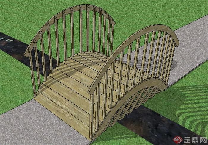 某简约木质景观桥Su模型