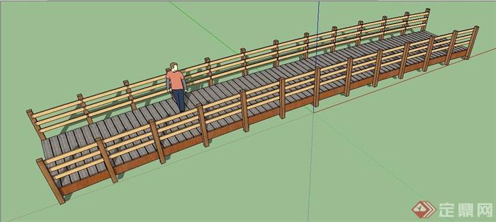 某现代木质景观桥设计su模型