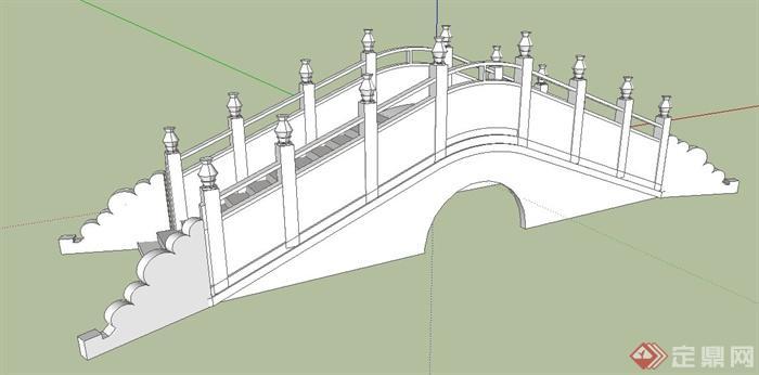 中式拱桥景桥设计su模型[原创]
