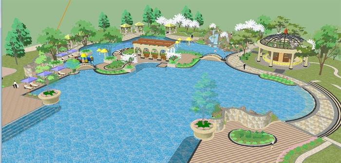 某欧式风格中庭一个带水吧的泳池精致设计SU模型,模型为欧式风格,模型制作详细精致完整,具有一定的使用价值,欢迎下载。