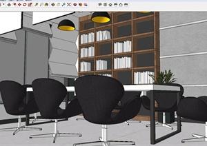 现代风格室内图书阅览室装潢方案精致设计SU(草图大师)模型