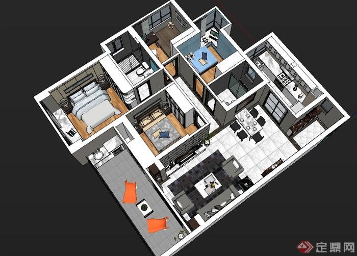 现代简约风格室内装修布局设计SU模型(1)