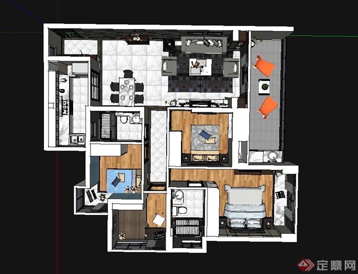 现代简约风格室内装修布局设计SU模型(3)