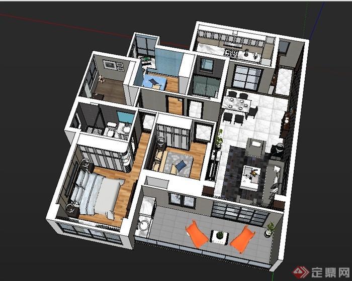 现代简约风格室内装修布局设计SU模型(2)