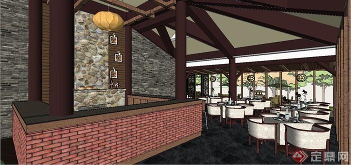 某现代中式风格精致茶室室内装饰设计SU模型(2)
