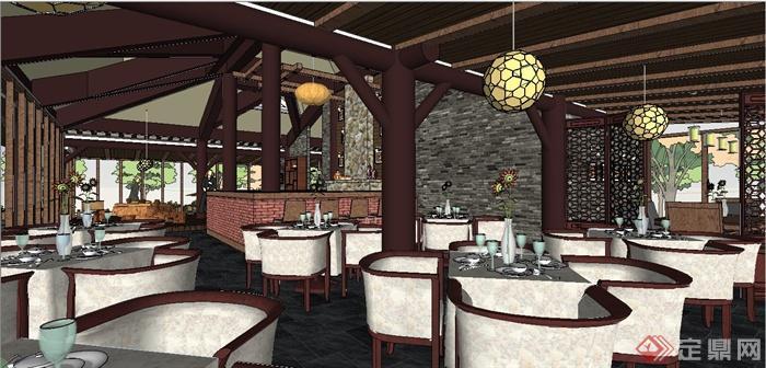 某现代中式风格精致茶室室内装饰设计SU模型(1)