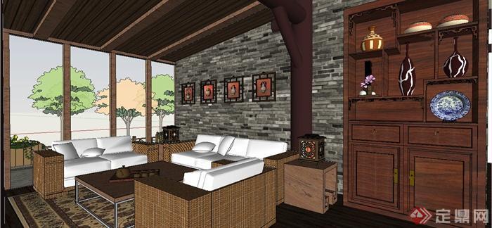 某现代中式风格精致茶室室内装饰设计SU模型(5)