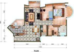 舒适三室两厅两卫户型图 PSD素材