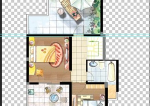 两室一卫别墅二层户型图 PSD分层素材