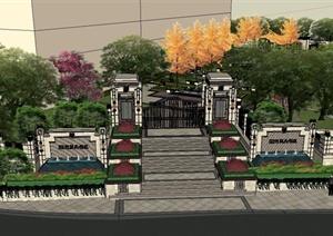 新古典风格详细居住小区景观设计SU(草图大师)模型
