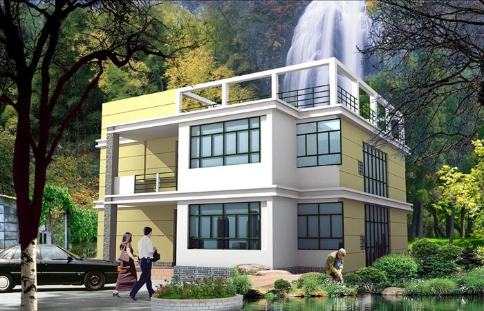 二层现代风格农村自建房建筑施工图[原创]