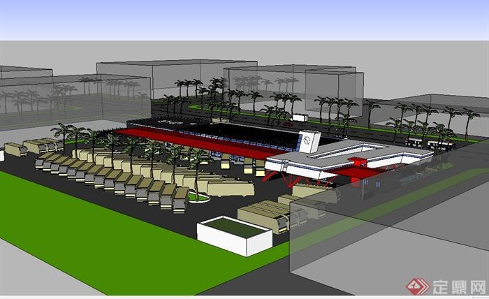 某现代风格单层汽车站建筑楼设计su模型(2)