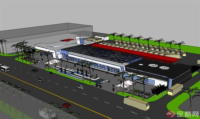 某现代风格单层汽车站建筑楼设计su模型(3)