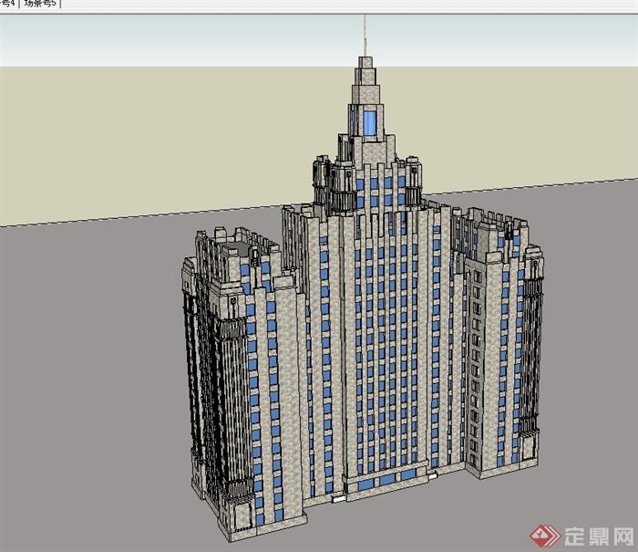 欧式高层办公楼建筑设计su模型[原创]