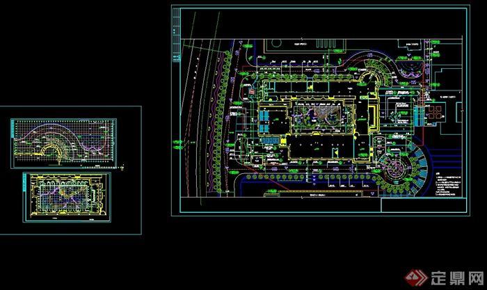 某现代风格学校总图平面布置图cad方案