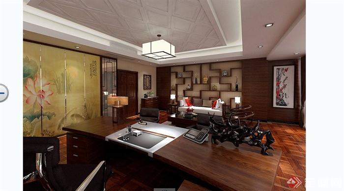 某现代中式风格总经理办公室室内装饰设计SU模型含JPG效果图(12)