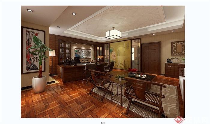 某现代中式风格总经理办公室室内装饰设计SU模型含JPG效果图(11)