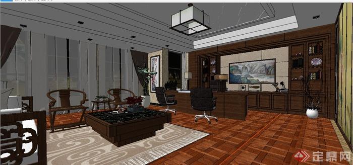 某现代中式风格总经理办公室室内装饰设计SU模型含JPG效果图(14)