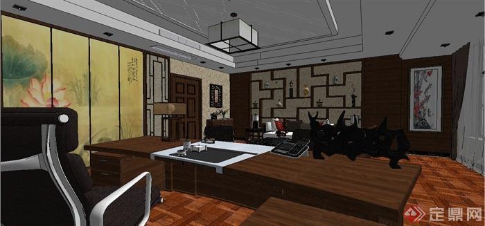 某现代中式风格总经理办公室室内装饰设计SU模型含JPG效果图(16)
