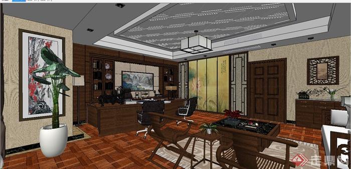 某现代中式风格总经理办公室室内装饰设计SU模型含JPG效果图(15)