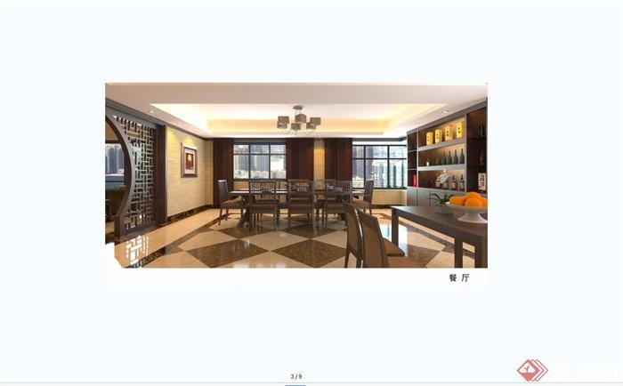 现代中式风格跃层别墅室内装饰设计SU模型含JPG效果图(18)