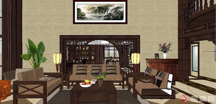 现代中式风格跃层别墅室内装饰设计SU模型含JPG效果图(22)