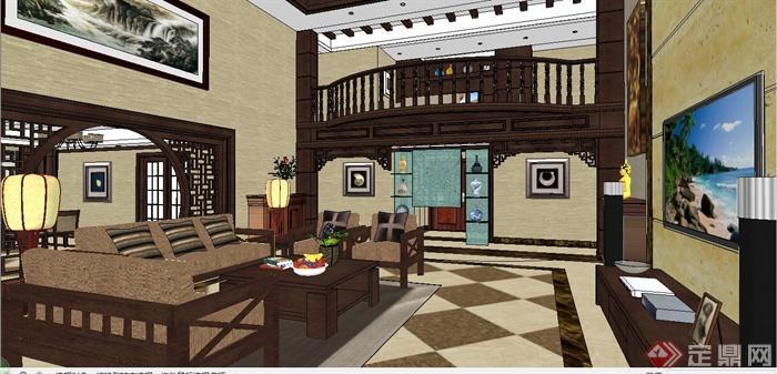 现代中式风格跃层别墅室内装饰设计SU模型含JPG效果图(24)