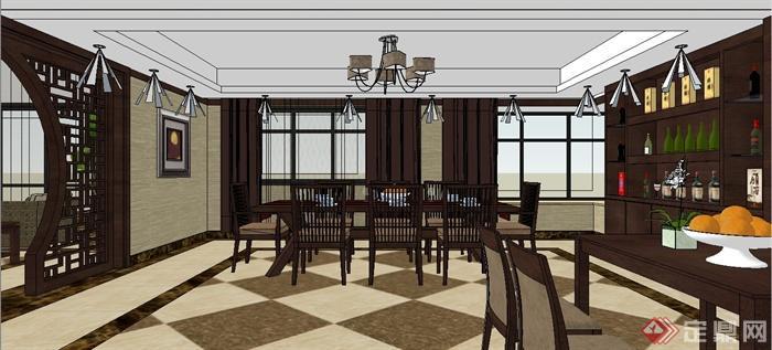 现代中式风格跃层别墅室内装饰设计SU模型含JPG效果图(25)