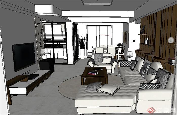 精品现代现代简约家装室内设计su模型(精美效果图)(17)