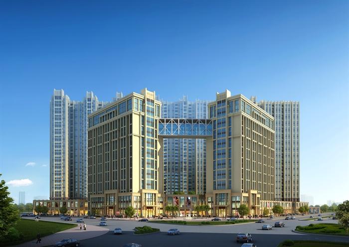 简欧住宅小区公寓楼建筑3dmax模型