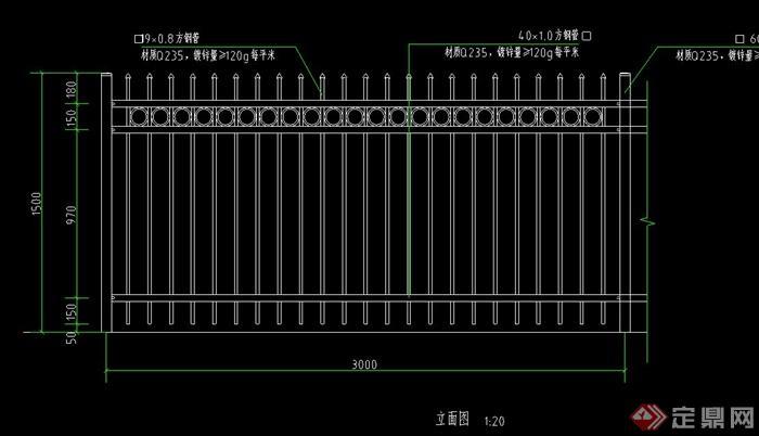 某欧式风格铁艺围栏v风格CAD施工图[原创]浓密机cad图图片