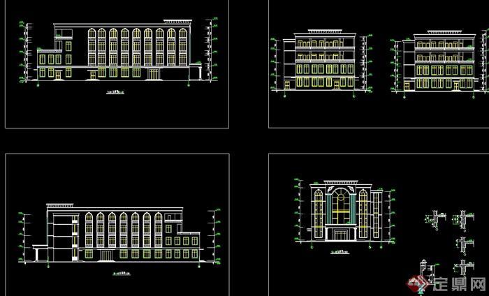 某美式风格多层食堂全套建筑设计cad施工图