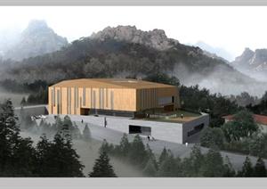 某现代风格综合建筑设计PSD效果图