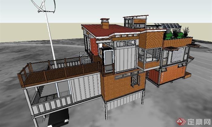 现代简约集装箱式别墅建筑设计su模型 带室内