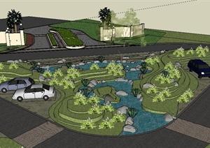 简约入口绿地景观设计SU(草图大师)模型