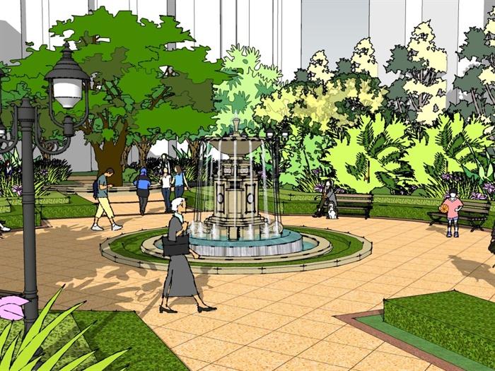 欧式风格局部公园景观设计su模型