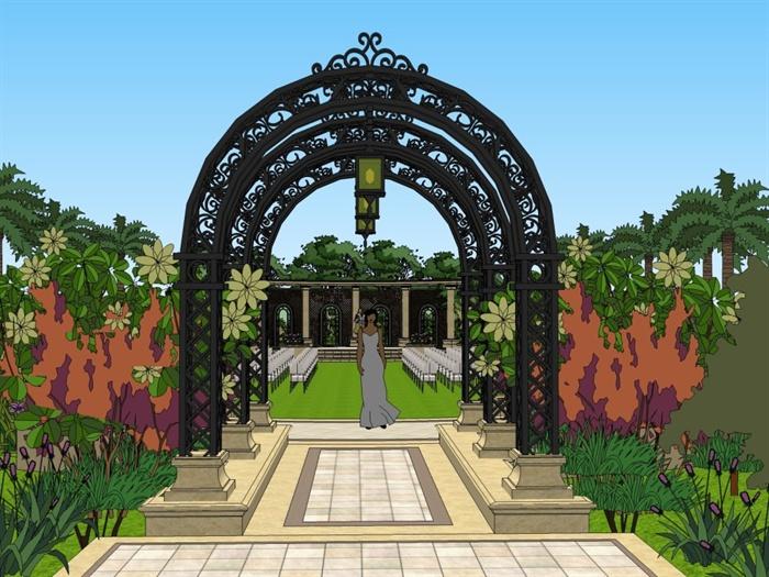 欧式风格精美公园景观设计su模型