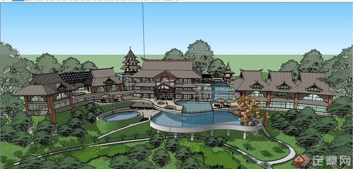 某精美东南亚风格休闲会所建筑设计SU模型(2)