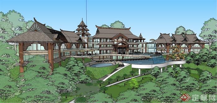 某精美东南亚风格休闲会所建筑设计SU模型(3)