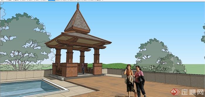 某精美东南亚风格休闲会所建筑设计SU模型(5)
