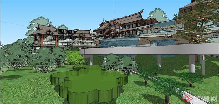 某精美东南亚风格休闲会所建筑设计SU模型(6)