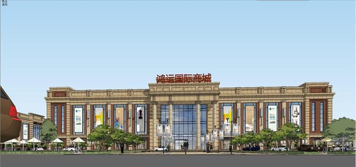 精品欧式家居广场草图大师模型(1)-精品欧式家居广场商业建筑设计