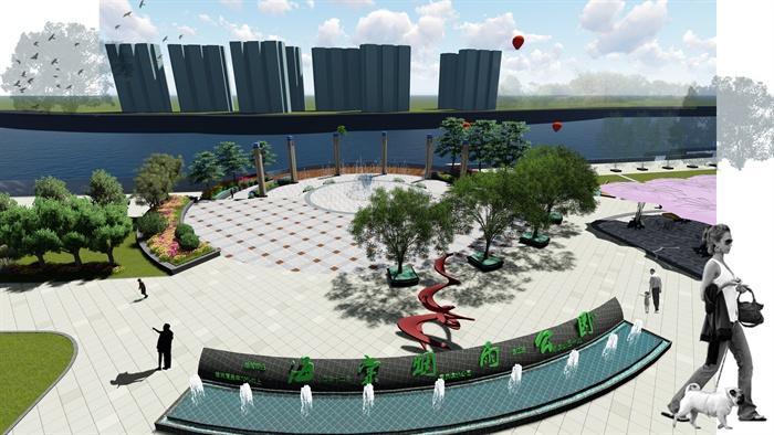 某滨水公园景观规划与设计全套资料文本su模型效果图展板[原创]
